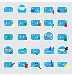 computer mail blue stickers eps10 vector image vector image