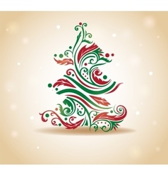 Curly Christmas tree vector image