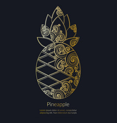 decorative golden pineapple vector image vector image