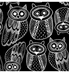 Decorative Hand dravn Cute Owl Sketch Doodle White vector image vector image