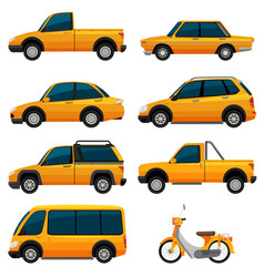 Different kinds of transportation in yellow vector