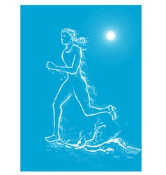 Female runner on water vector
