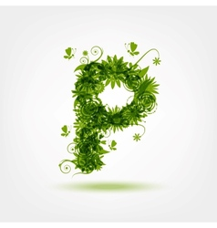 Green eco letter P for your design vector image
