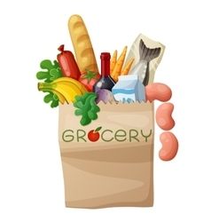 Grocery bag isolated on white background cartoon vector