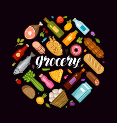 grocery store banner food and drinks icons set vector image