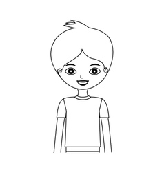 Half body young silhouette boy with t-shirt vector