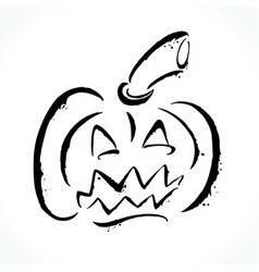 hand drawn jack-o-lantern on white background vector image vector image