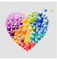 heart with butterfly isolated vector image vector image