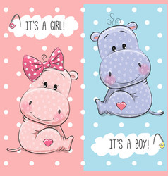hippos boy and girl vector image vector image