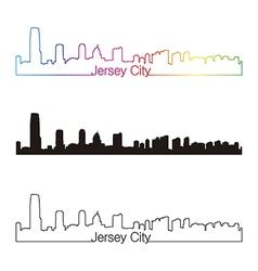 Jersey City skyline linear style with rainbow vector image