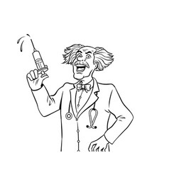mad doctor with syringe coloring book vector image
