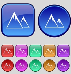 Mountain icon sign a set of twelve vintage buttons vector