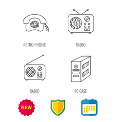 Radio retro phone and pc case icons vector