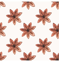 Seamless watercolor pattern with star anise on the vector image vector image