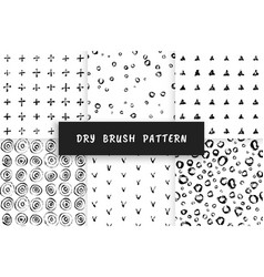 set dry brush pattern vector image vector image