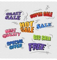 Set of pop art comic sale promotion transparent vector image vector image