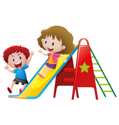 two kids playing on slide vector image