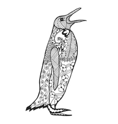 Zentangle stylized penguin Sketch for tattoo or t vector image