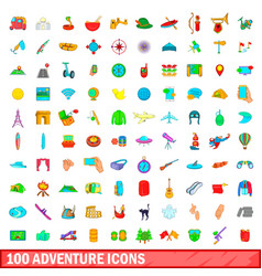 100 adventure icons set cartoon style vector image vector image