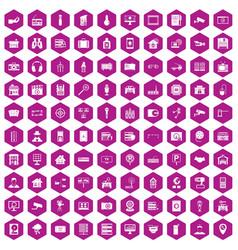 100 camera icons hexagon violet vector