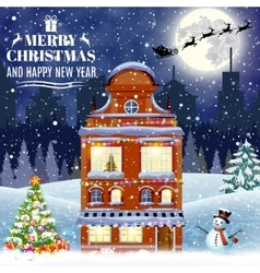 cartoon retro merry christmas night vector image