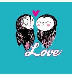 Lovers funny owl vector image