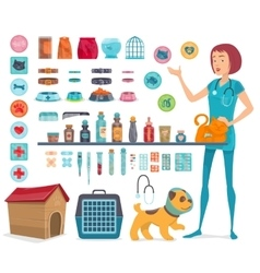 Veterinary icons collection vector