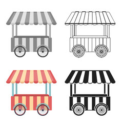 Snack cart icon in cartoon style isolated on white vector