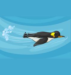 penguin swimming under the sea vector image