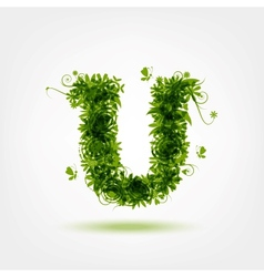 Green eco letter u for your design vector