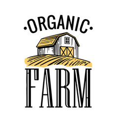 Organic farm black white yellow color vintage vector