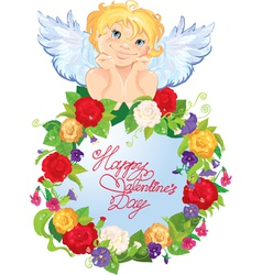 Cute angel with flowers valentines day card design vector