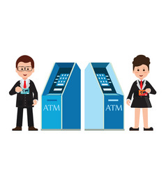 Atm machine money deposit and withdrawal or vector