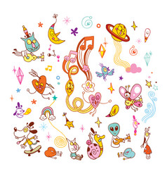 Fun cartoon characters group design elements set vector