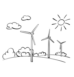 Wind turbines and nature vector
