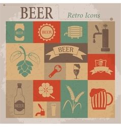Beer flat retro icons vector