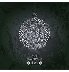 Ornate christmas ball made of hearts romantic vector