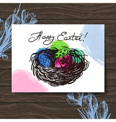 Vintage easter greeting card hand drawn sketch vector