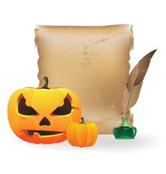 Jack o lantern papyrus and feather vector