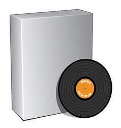 3d box with vinyl record vector