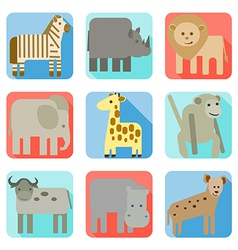 Icons wild animals of africa vector