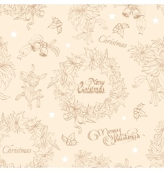 Vintage beige christmas wreath flowers vector