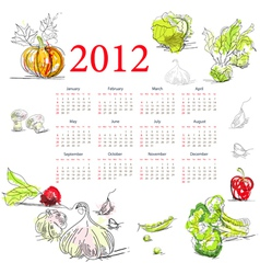Calendar for 2012 with vegetable vector