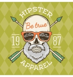 Vintage true bearded hipster skull with vector