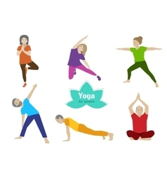 Yoga senior exercise older people sport activity vector