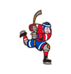 Ice hockey player striking stick vector