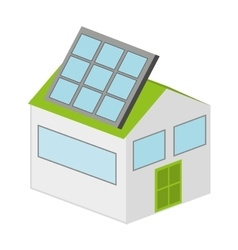 House with panel solar isolated icon design vector