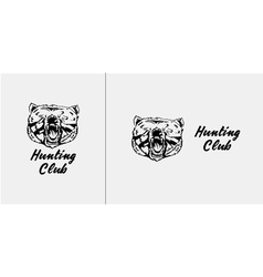 Black and white bear head emblem symbol logotype vector