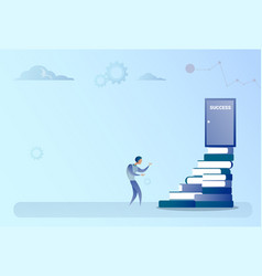 Business man climb books stack to success door vector