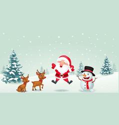 cartoon santa claus reindeer and snowman vector image vector image